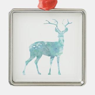 Deer Blue Watercolor Christmas Ornament