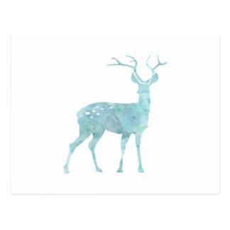 Deer Blue Watercolor Postcard