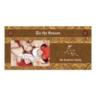 Deer brown classic christmas photocard personalized photo card