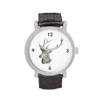 Deer Buck Head with Antlers Drawing Wrist Watch