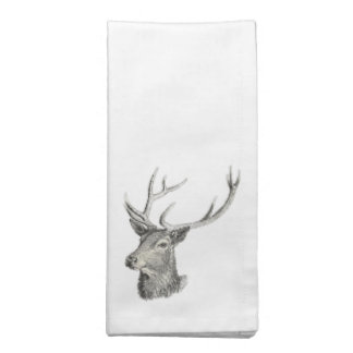 Deer Buck Head with Antlers Drawing Napkin