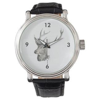 Deer Buck Head with Antlers Drawing Watch