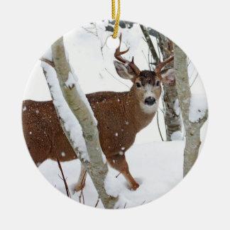 Deer Buck in Snow in Winter Christmas Ornament