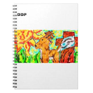 Deer by cross art notebook