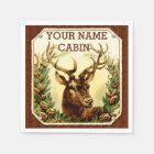 Deer Cabin Personalised with Wood Grain Disposable Serviette