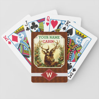 Deer Cabin Personalized Monogram with Wood Grain Bicycle Playing Cards