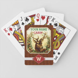 Deer Cabin Personalized Monogram with Wood Grain Playing Cards