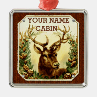 Deer Cabin Personalized with Wood Grain Christmas Ornament