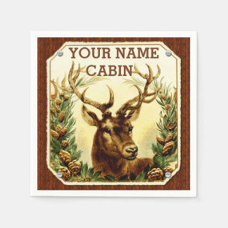 Deer Cabin Personalized with Wood Grain Disposable Napkins