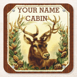 Deer Cabin Personalized with Wood Grain Square Paper Coaster