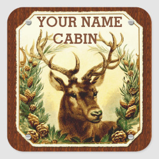 Deer Cabin Personalized with Wood Grain Stickers
