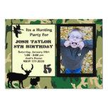 "Deer Camo Hunting Birthday Invitation 5"" X 7"" Invitation Card"