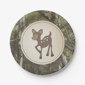 Deer Camouflage Baby Shower 7 Inch Paper Plate