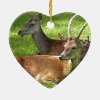 Deer Ceramic Heart Decoration