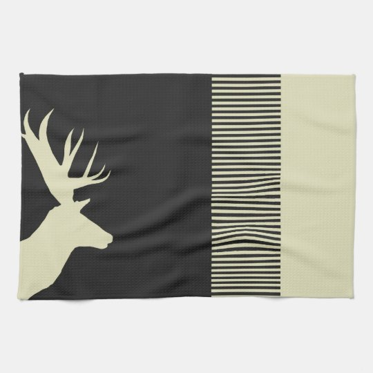 deer champagner black kitchen towel