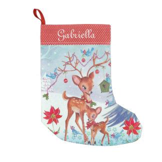 Deer Christmas Birds | Christmas Stocking Small Christmas Stocking