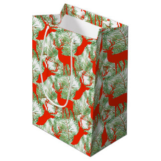 Deer Christmas pattern Medium Gift Bag