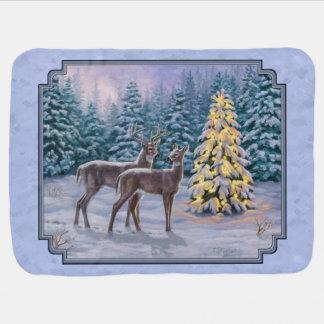 Deer & Christmas Tree Winter Blue Pramblanket