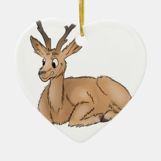 Deer - Coloured Sketch Ceramic Heart Decoration