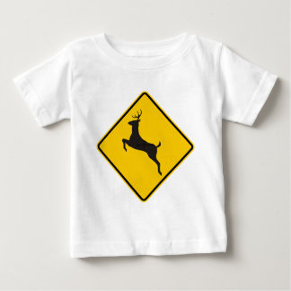 Deer Crossing Highway Sign Baby T-Shirt