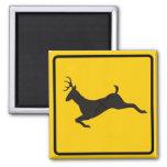 Deer Crossing Highway Sign Fridge Magnets