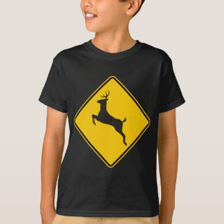 Deer Crossing Highway Sign T-Shirt