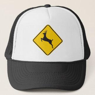 Deer Crossing Highway Sign Trucker Hat