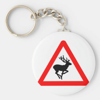 Deer Crossing Sign for Hunters Basic Round Button Key Ring
