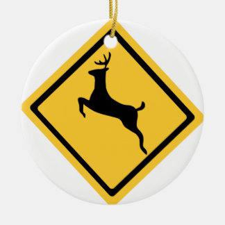 Deer Crossing Symbol Christmas Ornament