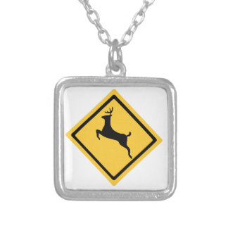 Deer Crossing Symbol Silver Plated Necklace
