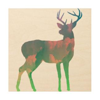 Deer Dreaming Wood Print