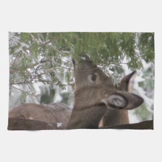 Deer Eating Cedar Branches Tea Towel
