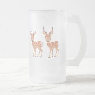 Deer Family Frosted Glass Beer Mug