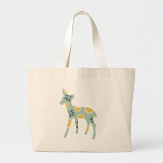 Deer fawn country pattern silhouette large tote bag