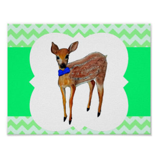 Deer Fawn With Bow Tie Poster