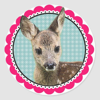 Deer flax button sticker approximately