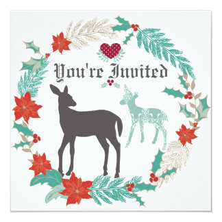 Deer Folk Art Winter Baby Shower Invitation
