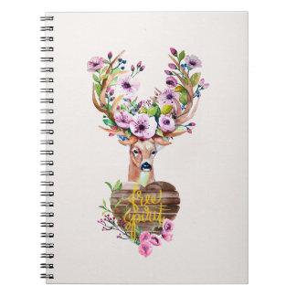 Deer Free Spirit Watercolor Design Notebook