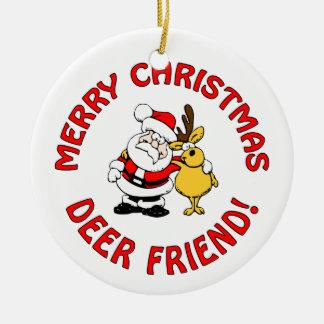 """Deer Friend"" ornament, customize Round Ceramic Decoration"