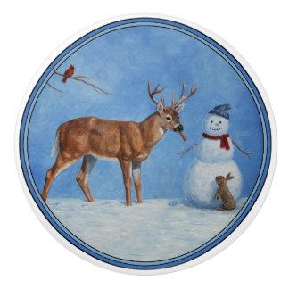 Deer & Funny Snowman Christmas Ceramic Knob