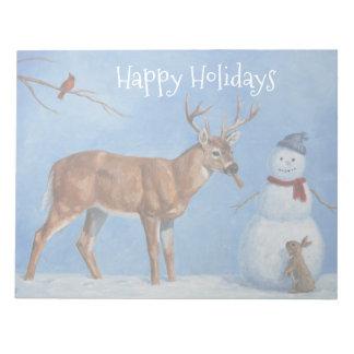 Deer & Funny Snowman Christmas Notepad