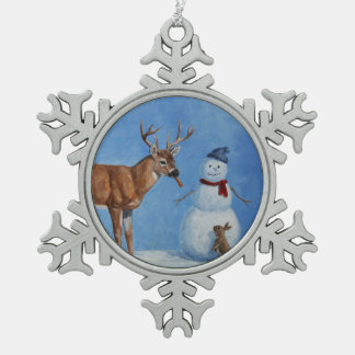 Deer & Funny Snowman Christmas Pewter Snowflake Decoration