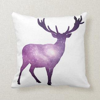 Deer Galaxy Watercolor Throw Pillow