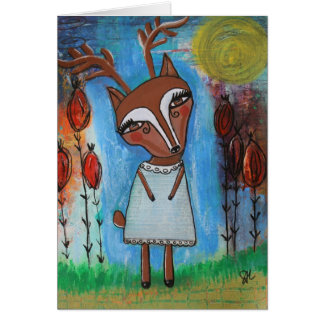 Deer Girl Blank Card
