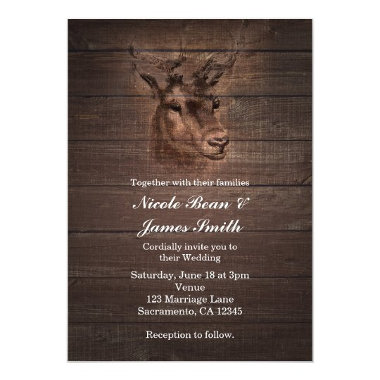 Deer Head & Dark Rustic Wood Wedding Invitations