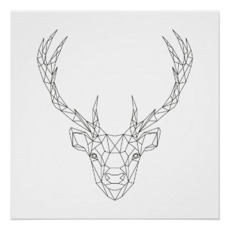 Deer Head Geometric Black & White Modern Art Print
