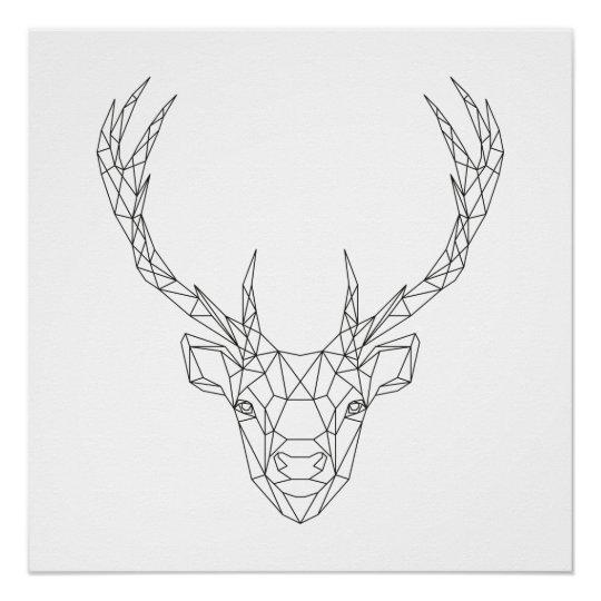 Geometric Purple Deer Wall Art Print Modern Poster Buck: Deer Head Geometric Black & White Modern Art Print