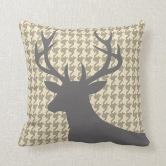 Deer Head Houndstooth | eggshell grey Cushion