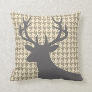 Deer Head Houndstooth | eggshell grey Throw Cushion