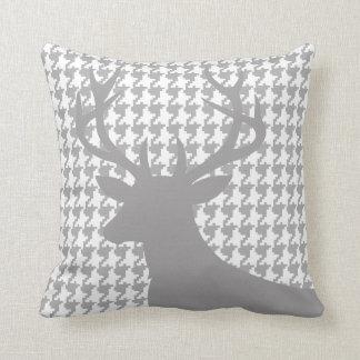 Deer Head Houndstooth | grey white Throw Cushion